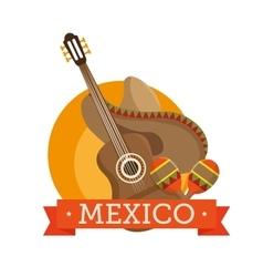 icons music guitar maracas mexico design vector image