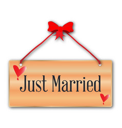 Just married sign vector