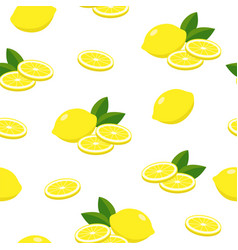 lemons seamless pattern lemon fruits vector image