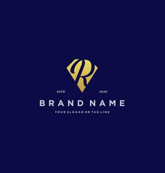 Letter r diamond gold logo design vector