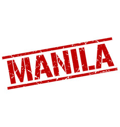 Manila red square stamp vector