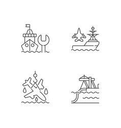Maritime sector linear icons set vector