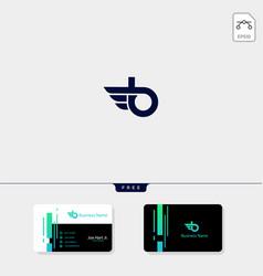 minimal initial b wings creative logo template vector image