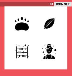 Modern set 4 solid glyphs pictograph badge vector