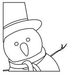 Monochrome contour of snowman face with top hat vector