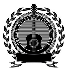 monochrome pattern with guitar and wreath vector image