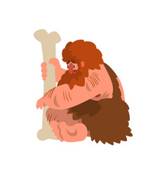 Muscular primitive caveman sitting with huge bone vector