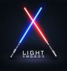 Neon light swords crossed light sabers isolated vector