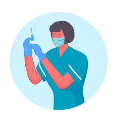 Nurse with syringe for vaccination portrait vector