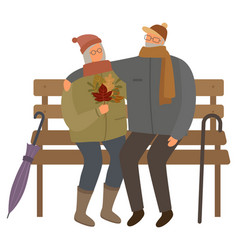 Old couple sitting on bench in warm clothes fall vector