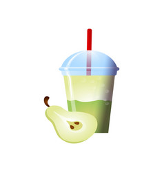 Pear smoothies in a cup superfoods and health or vector