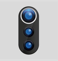 Photo lens icon blue vector