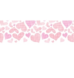 Pink textile hearts horizontal border seamless vector
