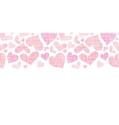 Pink textile hearts horizontal border seamless vector image