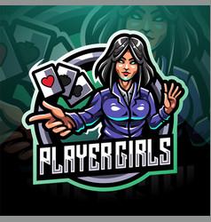 Player girls esport mascot logo vector