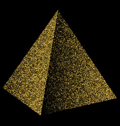 Pyramid triangle golden confetti isolated on vector