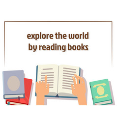 reading books poster design with flat books and vector image