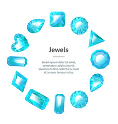 realistic detailed 3d blue jewels banner card vector image