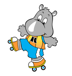 Rhino playing roller skate cartoon vector