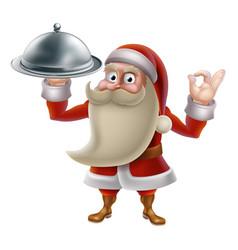 Santa cooking christmas food vector