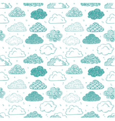 seamless background with green doodle clouds can vector image