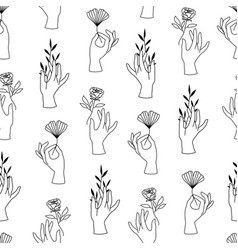 Seamless pattern female hands in minimal vector