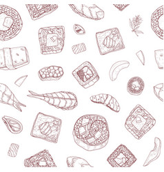 seamless pattern with maki and nigiri sushi and vector image