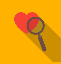 searching a love icon in flat style isolated on vector image