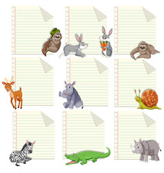 set animal on note template vector image