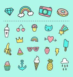 set cute cartoon stickers vector image