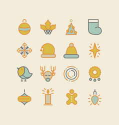 Set of christmas design stylish decorative icons vector