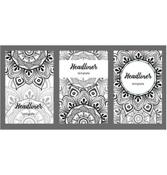 Set of old ramadan flyer pages ornament vector