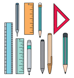 set of pen pencil and ruler vector image