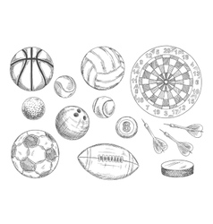 Sketched balls hockey puck and darts items vector image