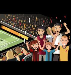 Soccer fans in stadium vector