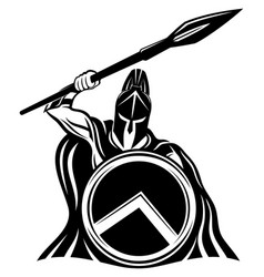 Spartan sign with spear and shield vector