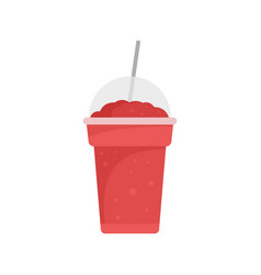 Strawberry smoothie icon flat style vector