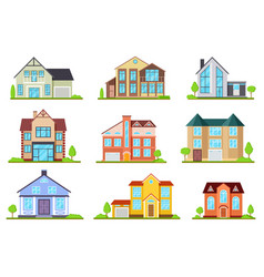 suburban houses family house village cottage vector image
