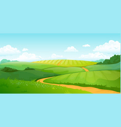 Summer fields landscape cartoon countryside vector