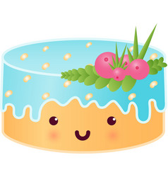 Sweet cute cake with berries vector