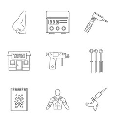Tattoo salon icon set outline style vector