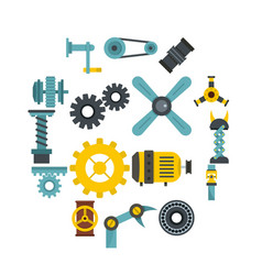 techno mechanisms kit icons set in flat style vector image