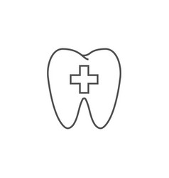 tooth with cross line icon vector image