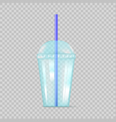 transparent blue plastic empty cup for soda vector image