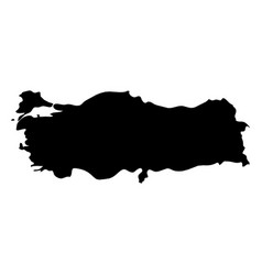 turkey - solid black silhouette map of country vector image