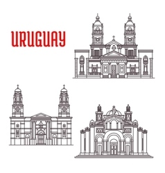 Uruguay architecture landmarks icons vector image