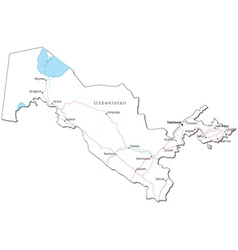 Uzbekistan Black White Map vector image
