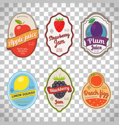 vintage fruit labels on transparent background vector image