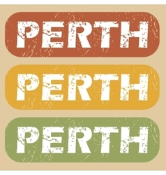 Vintage Perth stamp set vector image