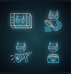 web robots neon light icons set game propaganda vector image